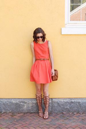 brown H&M bag - carrot orange eShakti dress - brown Target belt