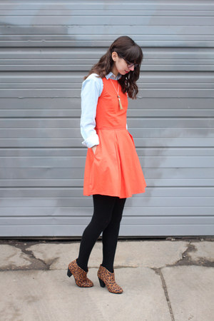 coral eShakti dress - brown Express boots - light blue American Apparel shirt