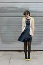 Navy-eshakti-dress-black-urban-outfitters-tights-yellow-simply-vera-cardigan