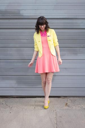 light yellow Forever21 blazer - salmon Express dress - hot pink Forever21 shirt