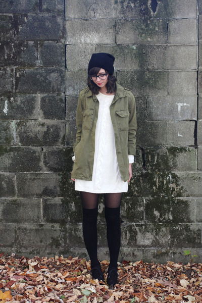black Urban Outfitters hat - ivory H&M dress - olive green Forever21 jacket