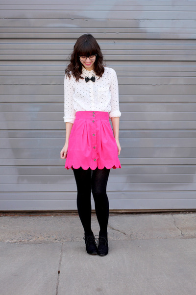 hot pink handmade - megan nielsen Kelly skirt skirt - black Target boots