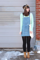 aquamarine banana republic sweater - camel Lulus boots - sky blue Topshop dress
