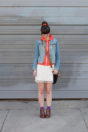 white Urban Outfitters skirt - brown modcloth boots - sky blue H&M jacket