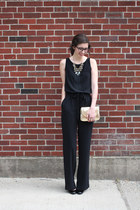 black Loft romper - gold thrifted purse - gold unknown necklace