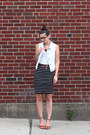 White-anthropologie-vest-white-loft-t-shirt-black-loft-skirt
