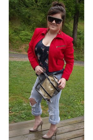red thrift blazer - sky blue unknown jeans - black see through H&M purse