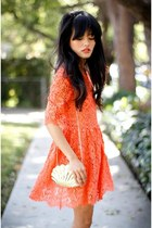 orange Urban Outfitters dress - off white mermaid shell Forever21 bag