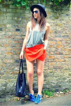 red skort Zara shorts - black fedora H&M hat