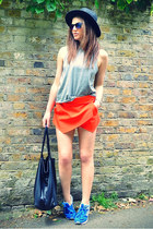 red skort Zara shorts - black fedora H&M hat