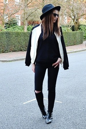 black leather Offfice boots - black skinny Topshop jeans - black fedora H&M hat