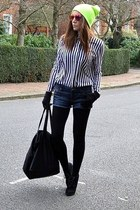 black suede Topshop boots - yellow beanie Topshop hat - white striped H&M shirt