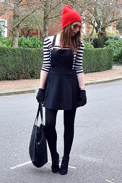 black suede Topshop boots - black pinafore River Island dress
