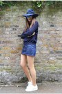 Navy-knitted-cos-jumper-blue-denim-apc-skirt-white-superstar-adidas-sneakers