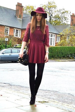 maroon fedora H&M hat - black suede Topshop boots - black cotton Primark tights