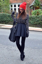 black suede Topshop boots - red beanie Topshop hat - black dotted Topshop shirt