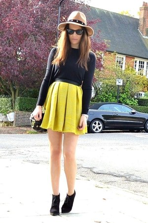 yellow mini Primark skirt - black suede Topshop boots - camel fedora Topshop hat