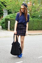 blue mesh New Balance sneakers - deep purple plaid Zara skirt