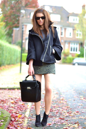 black wool Zara jacket - black suede Topshop boots - black faux leather Zara bag