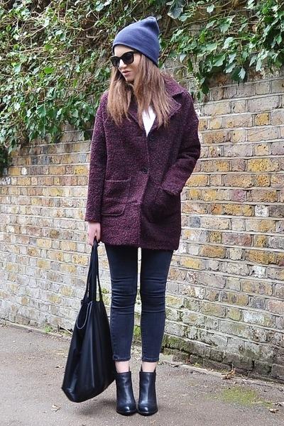 maroon textured H&M coat - dark gray skinny Topshop jeans