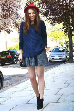 navy knitted Topshop jumper - black suede Topshop boots - red fedora H&M hat