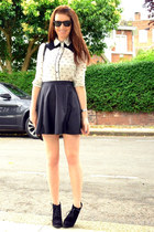 white patterned Zara blouse - black suede Topshop boots