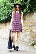 maroon Zara dress - black fedora H&M hat - deep purple round Topshop sunglasses
