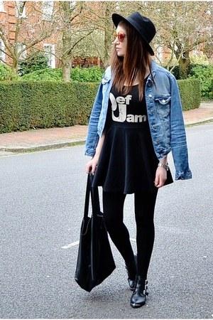 black fedora H&M hat - sky blue denim Zara jacket - black oversized Topshop bag