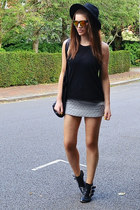 heather gray quilted Topshop skirt - gold mirrored Topshop sunglasses