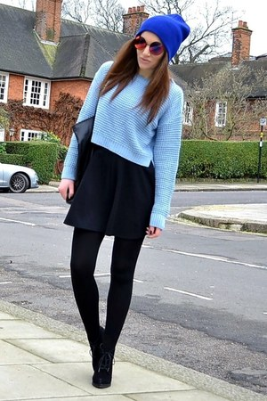 black suede Topshop boots - blue beanie Topshop hat