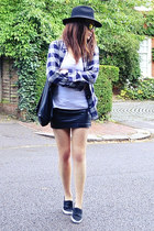 black faux leather H&M skirt - navy plaid H&M shirt - white cotton Zara t-shirt