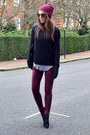 Black-suede-topshop-boots-maroon-beanie-primark-hat