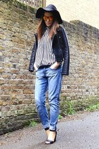 black faux leather Zara jacket - sky blue boyfriend H&M jeans