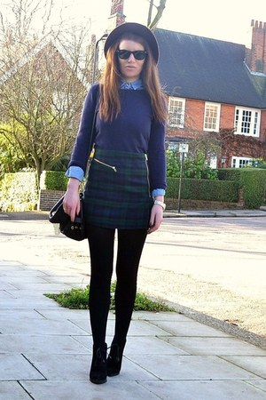 dark green plaid Topshop skirt - dark brown fedora H&amp;M hat