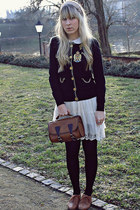 Forever21 skirt - vintage bag - new look flats - Siren London cardigan