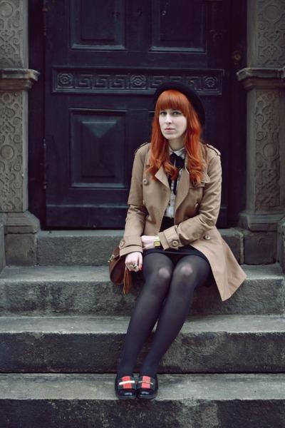 beige H&M coat - black H&M hat - brown Primark bag - ivory Primark blouse
