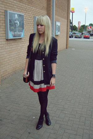 black new look shoes - blue navy Marks and Spencers blazer - beige DIY skirt