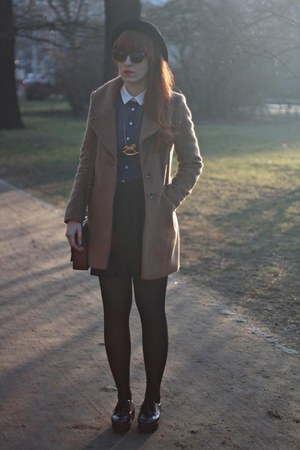 navy Primark blouse - light brown F&F coat - black H&M skirt