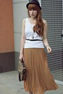 Camel-siren-bag-tan-romwe-skirt-black-new-look-wedges
