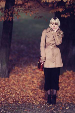 black H&M dress - black fleqpl shoes - beige H&M coat - brown vintage