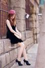 Black-velvet-random-from-hong-kong-dress-coral-random-from-hong-kong-hat