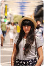 Blue-zara-t-shirt-blue-blanco-shorts-red-blanco-necklace-beige-oysho-hat-