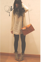 beige Zara dress - beige pull&bear jacket - brown tights - beige Queens Wardrobe