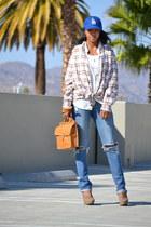 blue unknown hat - coach purse - Adidas bra