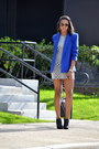 White-soprano-dress-blue-jones-new-york-blazer-black-dooney-bourke-purse