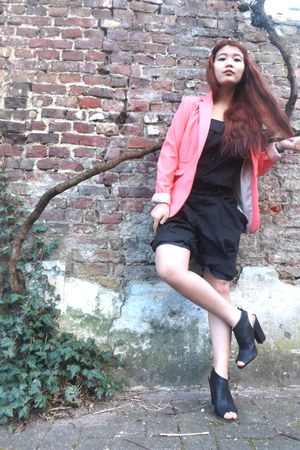 H&M blazer - H&M heels - China romper - DIY hair accessory