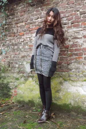 H&M skirt - Zara boots - Primark tights - Zara jumper