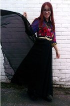 black vintage maxi Ebay skirt - purple floral Thom Brown shirt