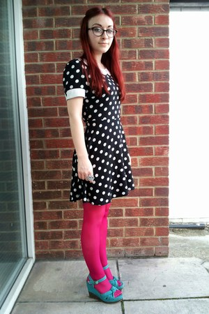black polka dot new look dress - hot pink H&amp;M tights - teal Asda wedges