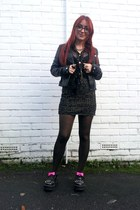 black t-bar spike OASAP shoes - black biker H&M jacket - black vintage shirt